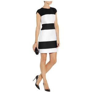 NARCISO RODRIGUEZ Striped wool blend & satin dress